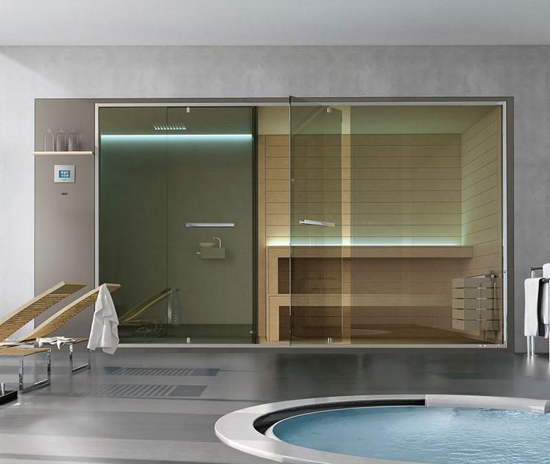 Sistema wellness con sauna e spazio doccia Hafro Ethos SSAET5E1SH